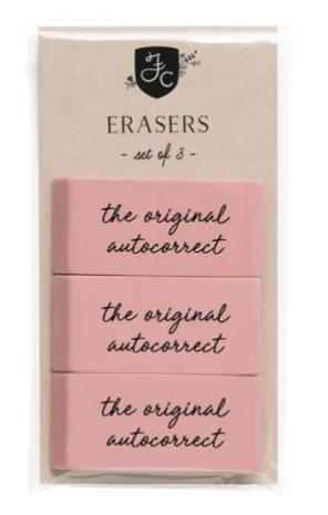 The Original Autocorrect Set of 3 Pink Classic Erasers