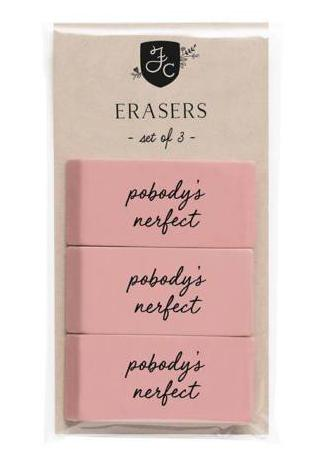 Nobody's Perfect Classic Pink Eraser Pack of 3