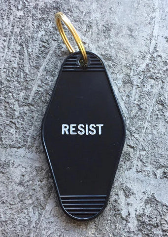 Resist Keychain in Black and White