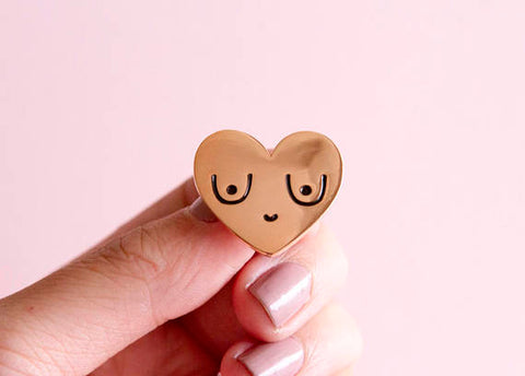 Happy Boobs Enamel Pin in Rose Gold