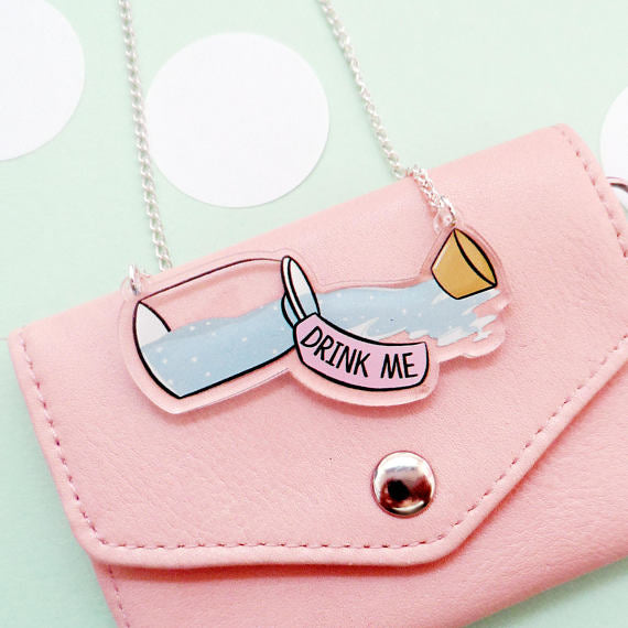 Kawaii-inspired Drink Me Bottle Acrylic Necklace in Pastel Color
