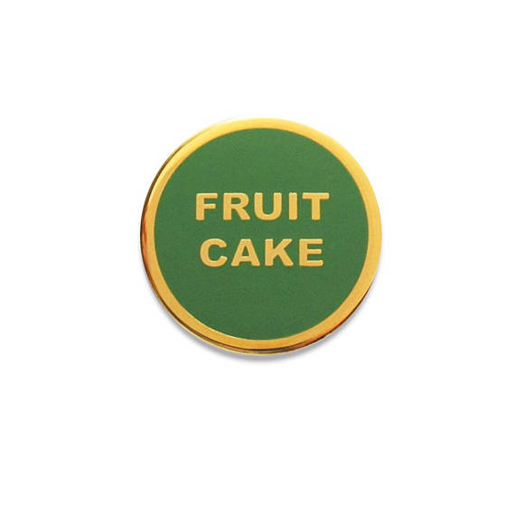 Fruit Cake Holiday Enamel Pin in Green and Gold