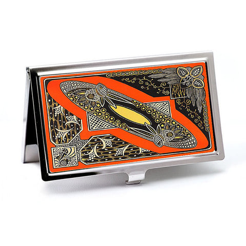 Art Deco Business Card Case in Orange Moderne