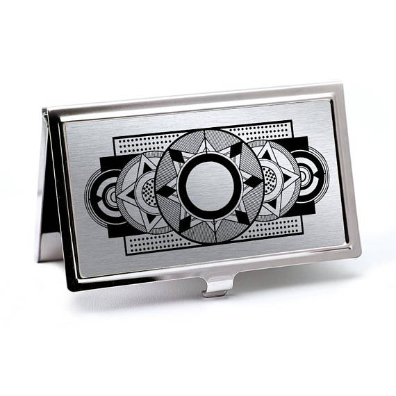 Silver Art Deco Business Card Holder