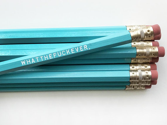 Whatthefuckever Pencil Set in Blue | Set of 5 Funny Sweary Profanity Pencils
