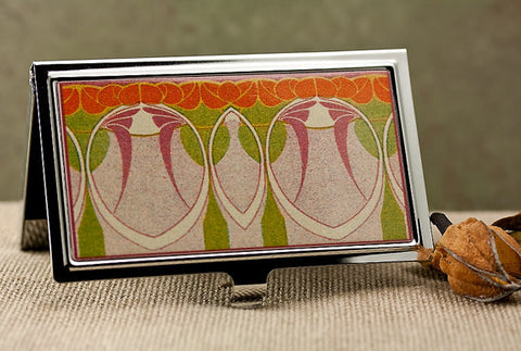 Art Nouveau Business Card Holder in Abstract Mauve