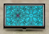 Art Deco Business Card Case in Teal Blue and Magenta