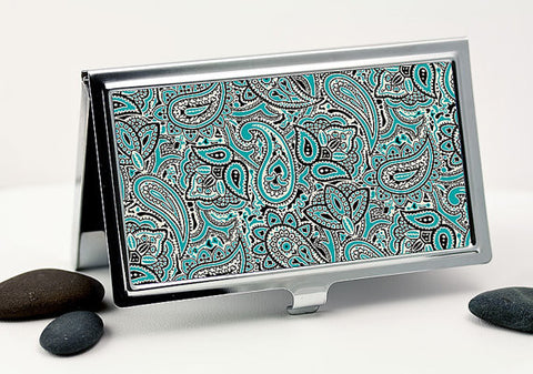 Retro Paisley Business Card Case in Teal