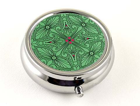 Elegant Pill Box in Emerald and Magenta