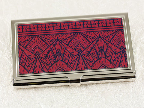 Art Deco Business Card Case in Crimson Red and Black
