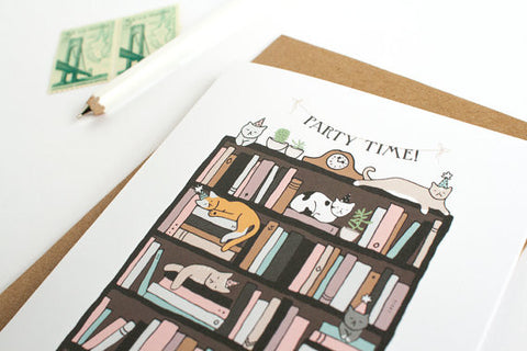 Party Cats Bookcase Card