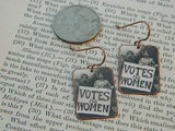 Votes For Women Feminist Earrings - Copper or Stainless Steel (Silver)