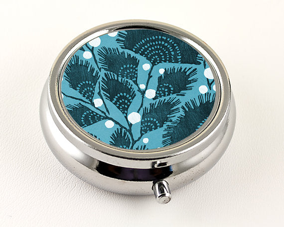 Teal Art Deco Floral Pill Box