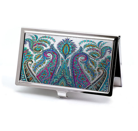 Paisley and Silver Tapestry Business Card Case