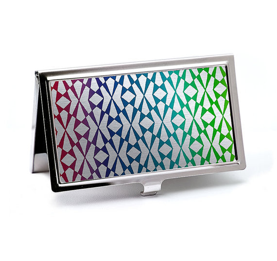 Chrome Lattice Graphic Business Card Case