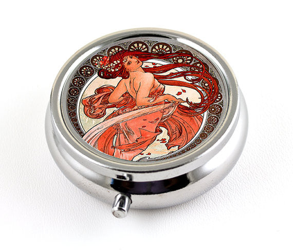 Mucha Art Nouveau Pill Box in Dancing Girl