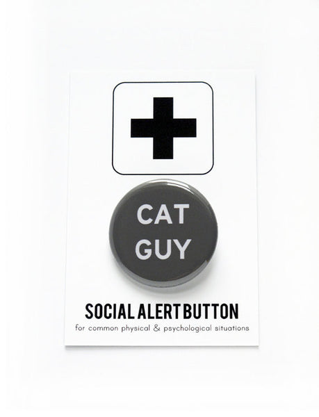 Cat Guy Button Pin in Black and White