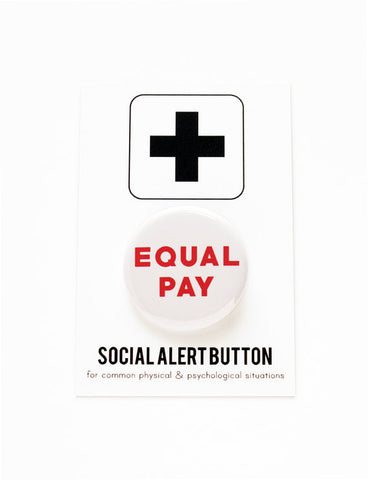 Equal Pay Button Pin in Red and White
