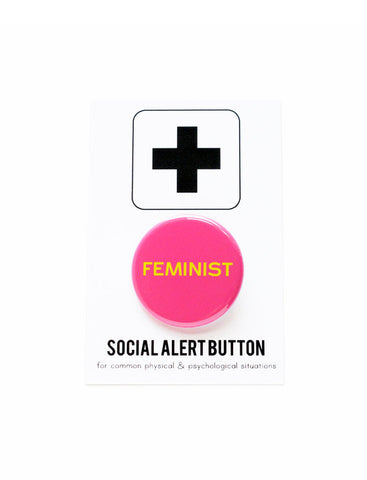 Feminist Button Pin in Hot Pink
