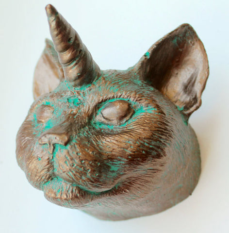 Bronze Cat Unicorn Caticorn Wall Art