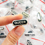 Queer Enamel Pin in Black and Silver
