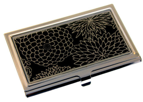 Silver Mums on Black Chiyogami Business Card Case