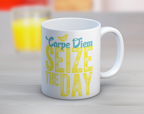 Carpe Diem - Seize the Day Coffee Mug in Turquoise and Bright Yellow