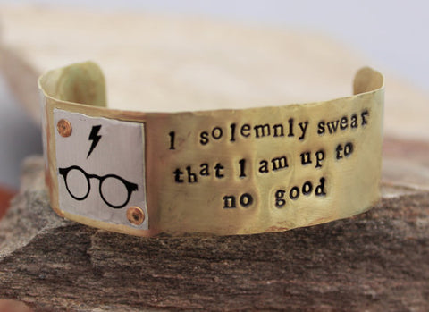 I Solemnly Swear That I Am Up To No Good - Harry Potter Cuff in Brass