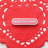 Heartbreaker Enamel Pin in Silver and Pink