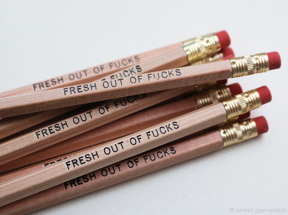Fresh Out Of Fucks Pencil Set in Natural Wood
