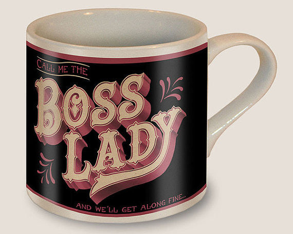 Boss Lady Mug in Pink and Black | Vintage Style | Design on Both Sides | In a Gift Box