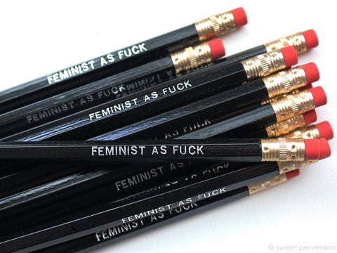 Feminist As Fuck Pencil Set in Black | Set of 5 Funny Sweary Profanity Pencils