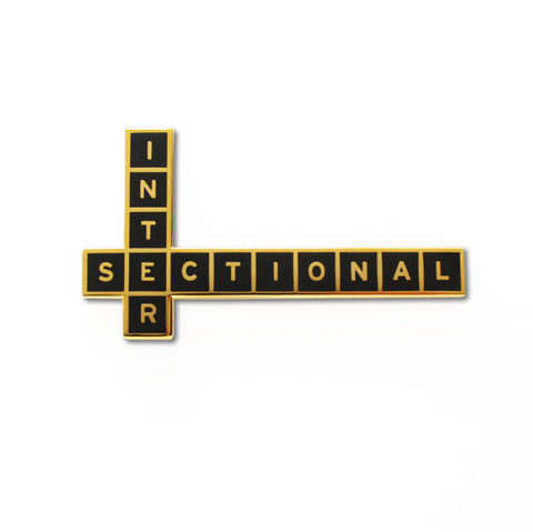 Intersectional Feminist Enamel Pin in Black and Gold