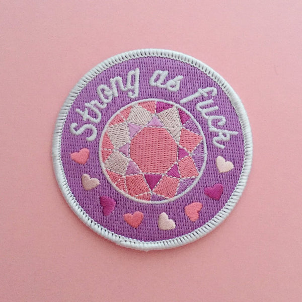 Strong As Fuck Round Patch in Violet