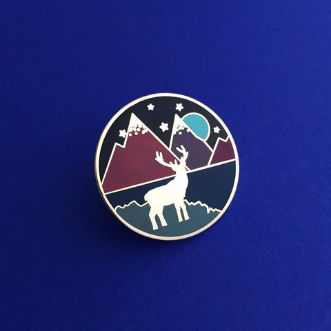 Stag & Mountains Round Enamel Pin