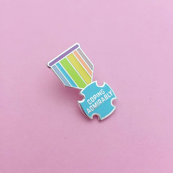Coping Admirably Medal Enamel Pin in Pastels