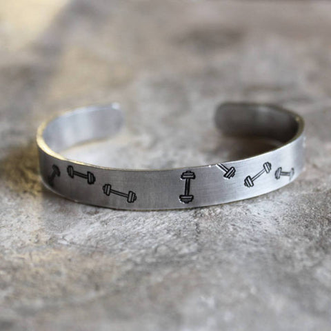 Lift Those Barbells Hand Stamped Unisex Cuff Bracelet in Silver
