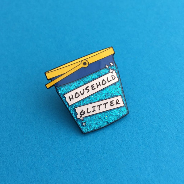 Household Glitter Bucket Enamel Pin in Blue Glitter