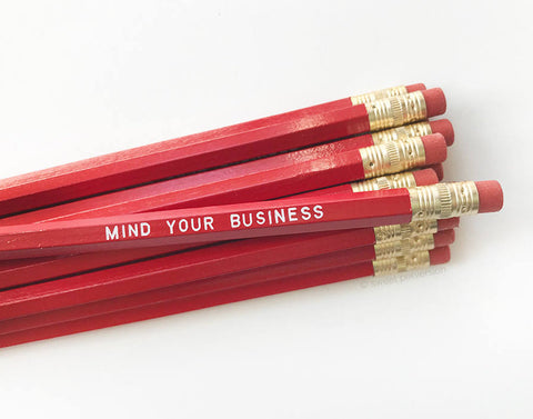 Mind Your Business Pencil Set in Red | Set of 5 Funny Novelty Pencils