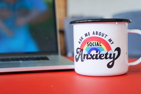 Ask Me About My Social Anxiety Enamel Camping Coffee Mug