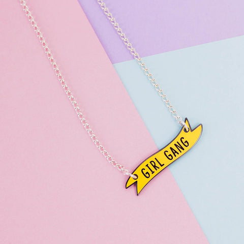 Girl Gang Banner Charm Necklace in Pastel Yellow