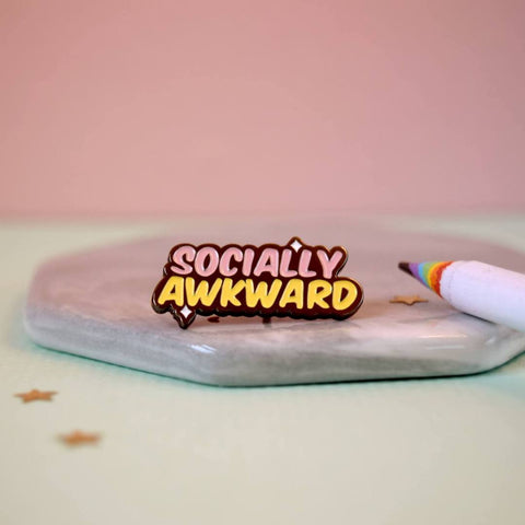 Socially Awkward Enamel Pin in Pastel Pink and Yellow