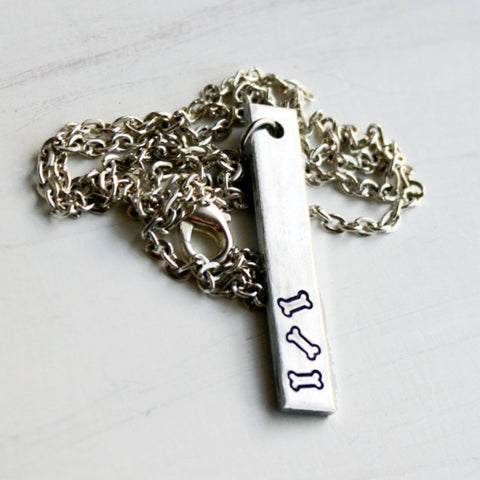 Dog Lover Bar Necklace in Aluminum Chain