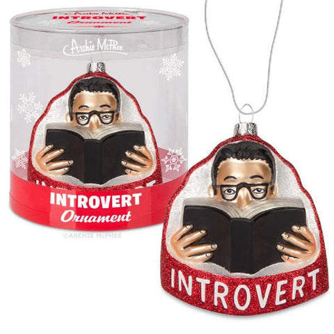 Introverts Holiday Glass Ornament