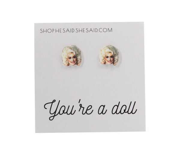 You're A Doll Dolly Parton Stud Earrings