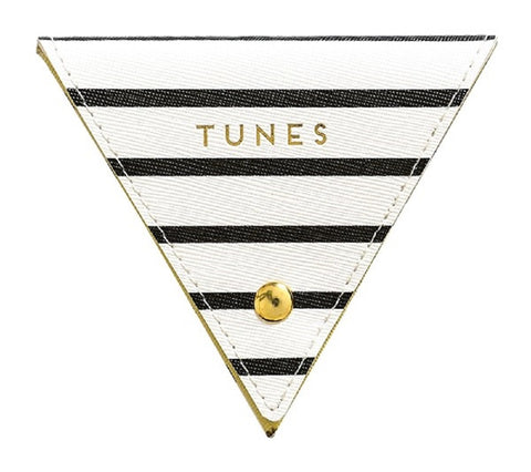 Tunes Black and White Stripes Triangular Cable Tidy Wire Case