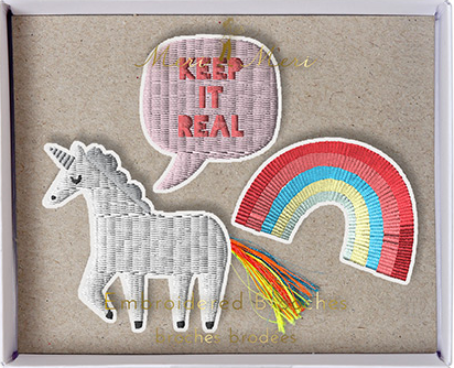 Keep It Real Unicorn and Rainbow Embroidered Patch Style Fabric Brooch Set