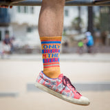 Only Here 4 The Beer Ribbed Unisex Gym Socks in Gold, Blue and Red