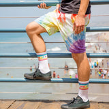 Fruity Ribbed Unisex Gym Socks in Crisp White and Rainbow