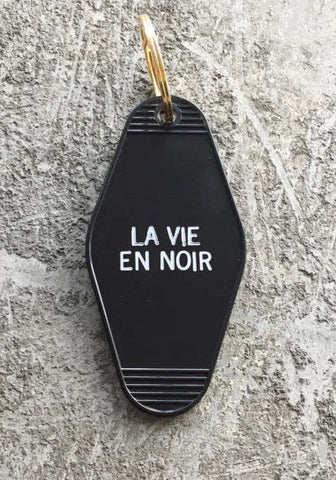 La Vie En Noir Keychain in Black and White